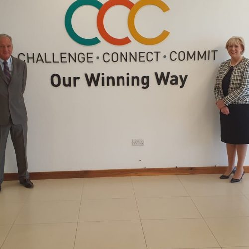 Barry Kennedy with Heather Humphreys at funding announcement for Border Enterprise Development Fund