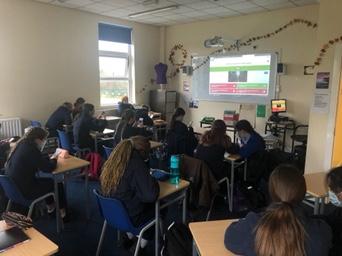 School class taking kahoot quiz for Science Week