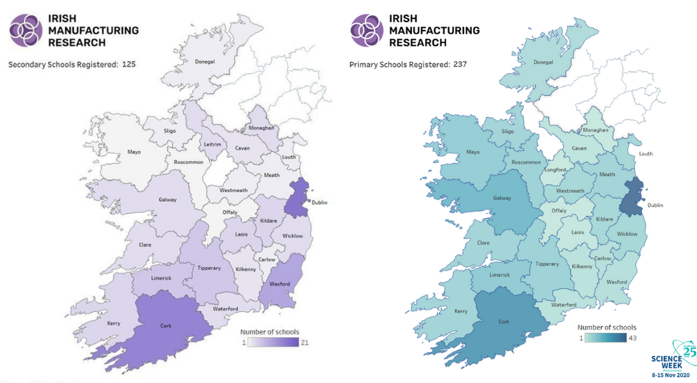 Map of Ireland showing IMR's Science Week reach