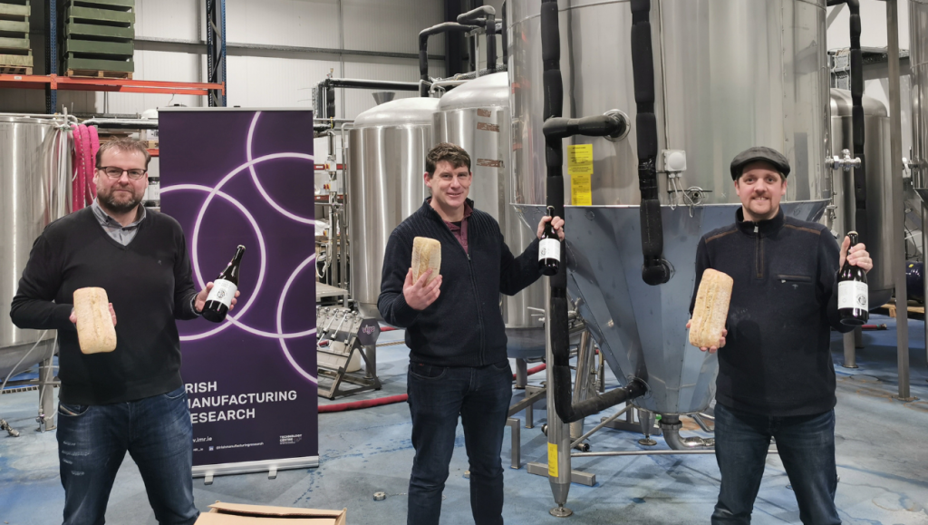 Dave McCormack Irish Manufacturing Research, Liam Hanlon, St Mel's Brewery and Pierre Delannoy, Panelto Foods at St Mels Symbiobeer