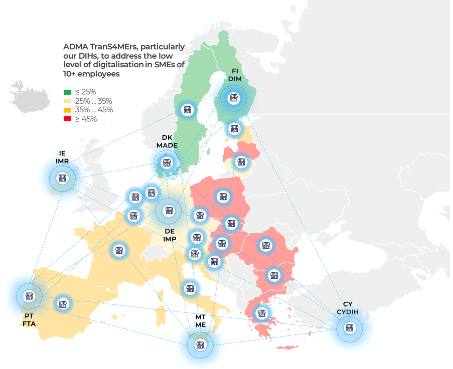 The geographic reach of the ADMA TranS4MErs partners